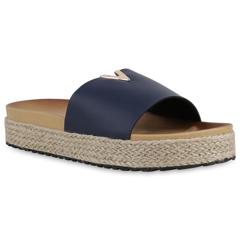 Damen Sandaletten Pantoletten - Dunkelblau