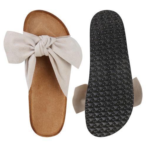 Damen Sandalen Pantoletten - Beige