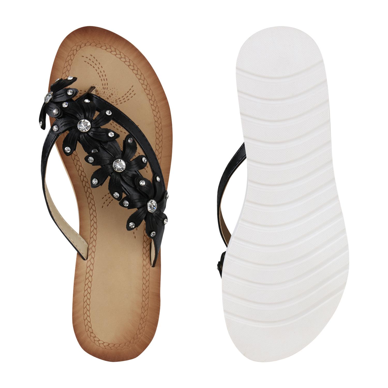 Damen Sandaletten Zehentrenner Blumen Strass Keilabsatz Schuhe 896677 Modatipp