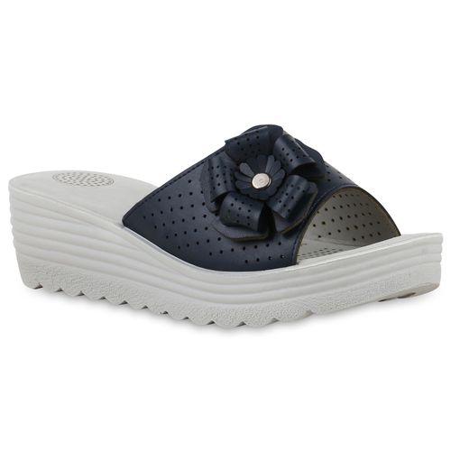 Sandaletten Damen Damen Sandaletten Pantoletten Pantoletten Dunkelblau Dunkelblau nFBRHw