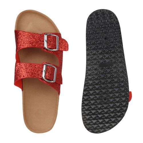 Rot Damen Damen Pantoletten Sandalen Sandalen IYnOO7zH
