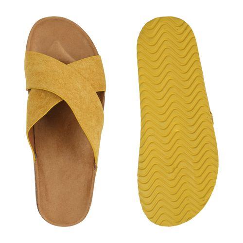 Damen Damen Sandalen Gelb Pantoletten Sandalen BCc7WOC