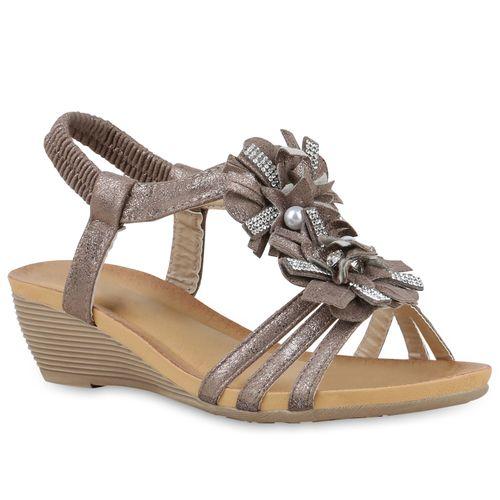 Khaki Damen Damen Sandaletten Sandaletten Keilsandaletten IX7wqZ