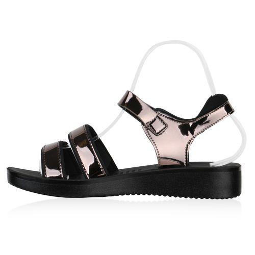 Sandaletten Keilsandaletten Grau Metallic Damen Damen Sandaletten xaq6EYwfp