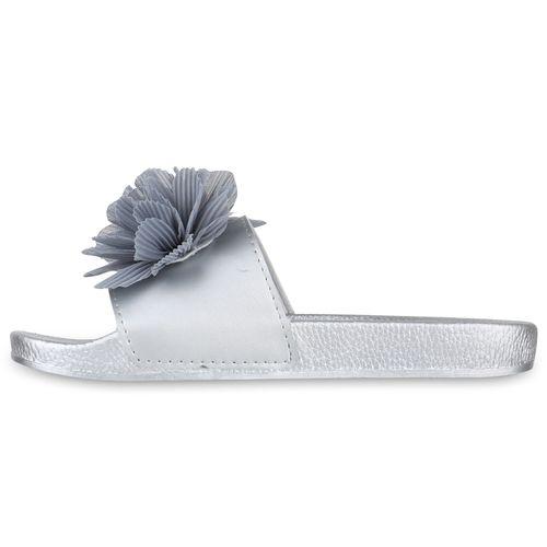 Sandalen Pantoletten Silber Damen Damen Sandalen qxc7WwYTE