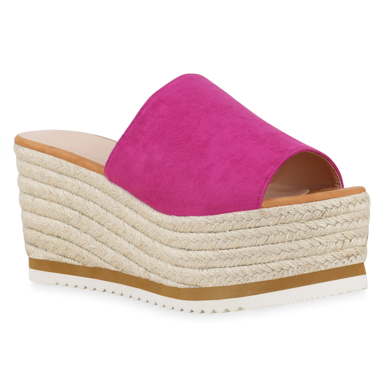 Damen Sandaletten Pantoletten - Fuchsia