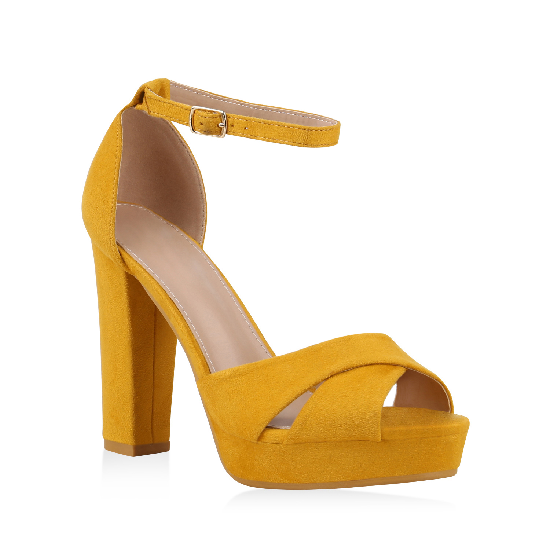 Damen Plateau Sandaletten - Gelb
