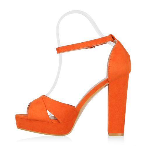 Damen Plateau Sandaletten - Orange