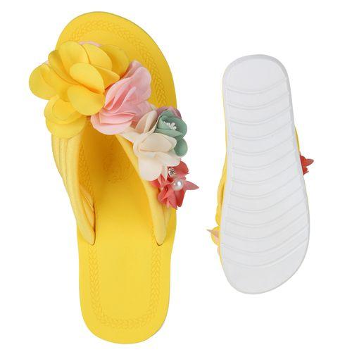 Damen Sandalen Zehentrenner - Gelb