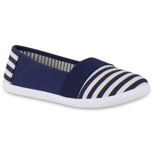 Damen Slippers Slip Ons - Marineblau Weiß Muster