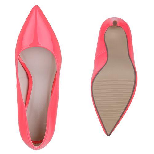 Damen Spitze Pumps - Neon Pink