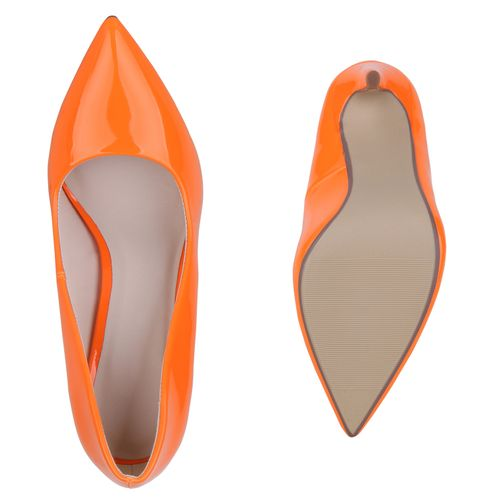 Damen Spitze Pumps - Neonorange