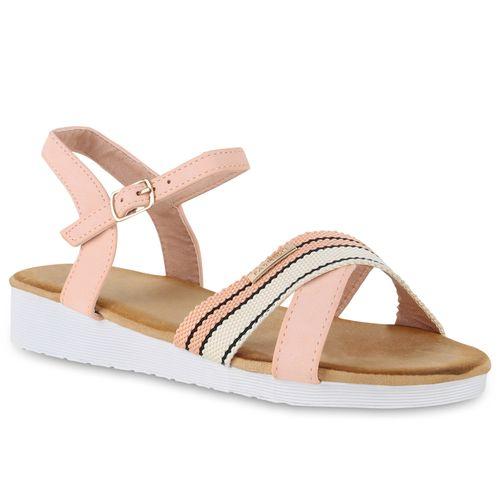 Damen Sandaletten Keilsandaletten - Rosa Creme