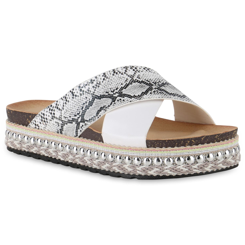 Damen Sandaletten Pantoletten - Weiß Snake