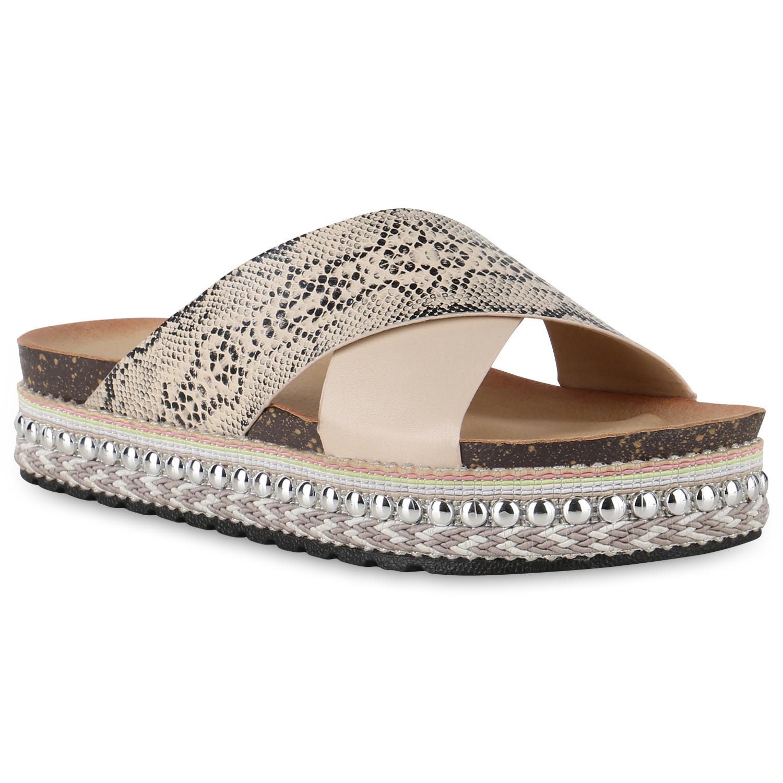 Damen Sandaletten Pantoletten - Beige Snake