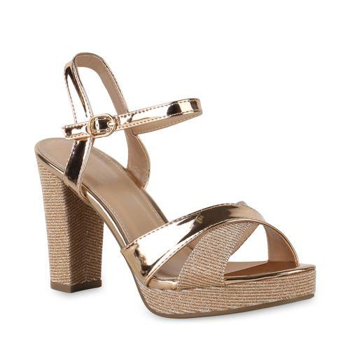 Sandaletten High Damen Gold Heels Rose 1Tdwqd
