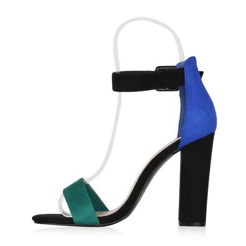 Sandaletten Grün Blau Heels High Damen zqwFaO