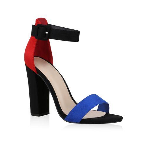Damen Sandaletten High Heels - Blau Rot