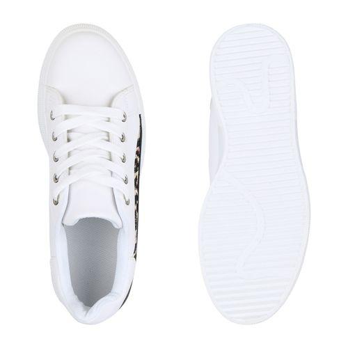 Damen Plateau Sneaker - Weiß Leo