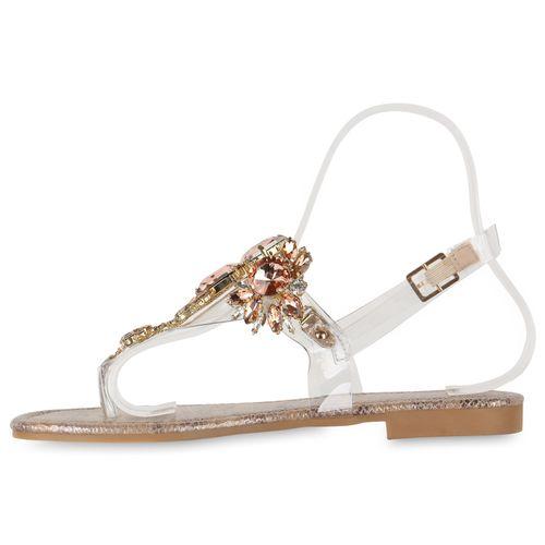 Damen Sandalen Zehentrenner - Rose Gold Snake