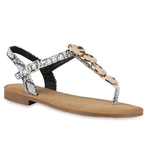 Damen Sandalen Zehentrenner - Weiß Schwarz Snake