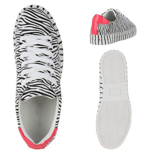 Damen Plateau Sneaker - Zebra Neon Pink
