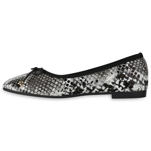 Damen Klassische Ballerinas - Schwarz Weiß Snake