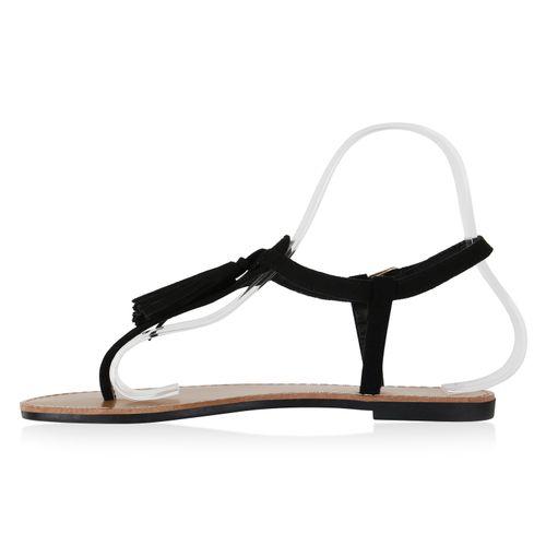 Damen Sandalen Zehentrenner - Schwarz