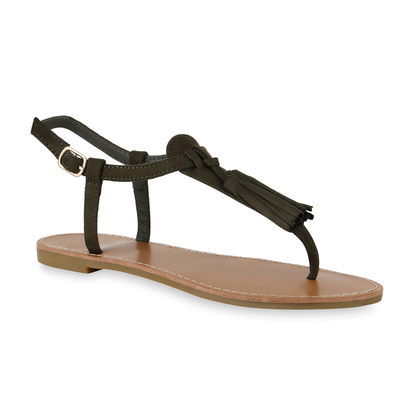 Damen Sandalen Zehentrenner - Dunkelgrün