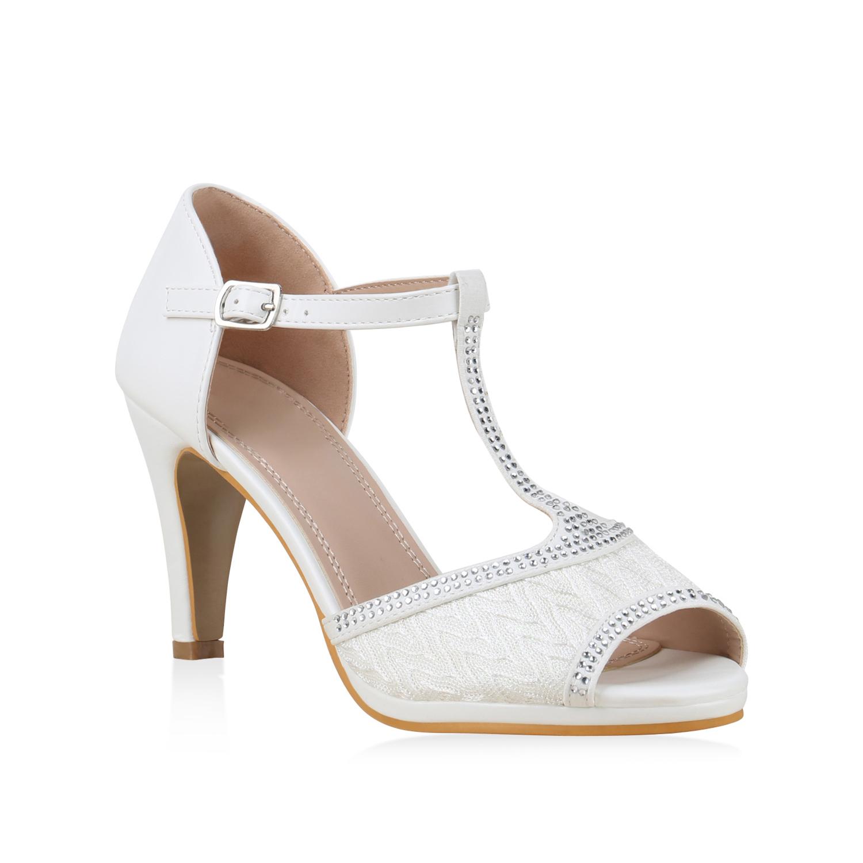 Sandalen für Frauen - Damen Sandaletten Riemchensandaletten Weiß › stiefelpardies.de  - Onlineshop Stiefelparadies