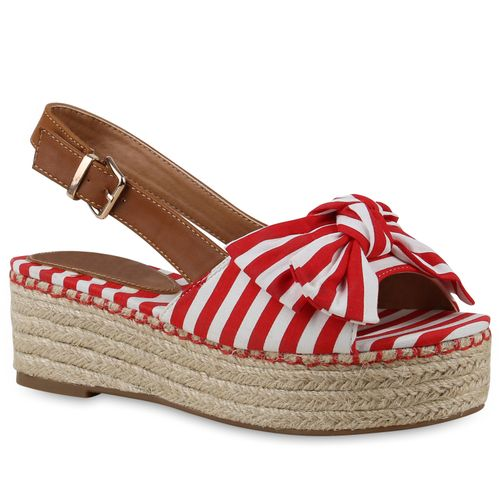 Damen Plateau Sandaletten - Rot Weiß Muster