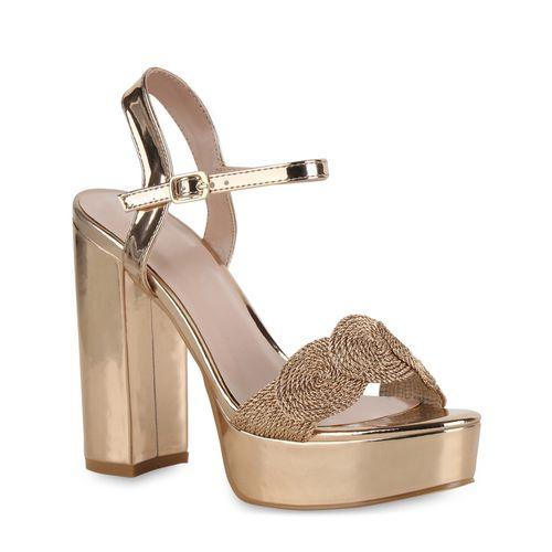 Damen Plateau Sandaletten - Rose Gold