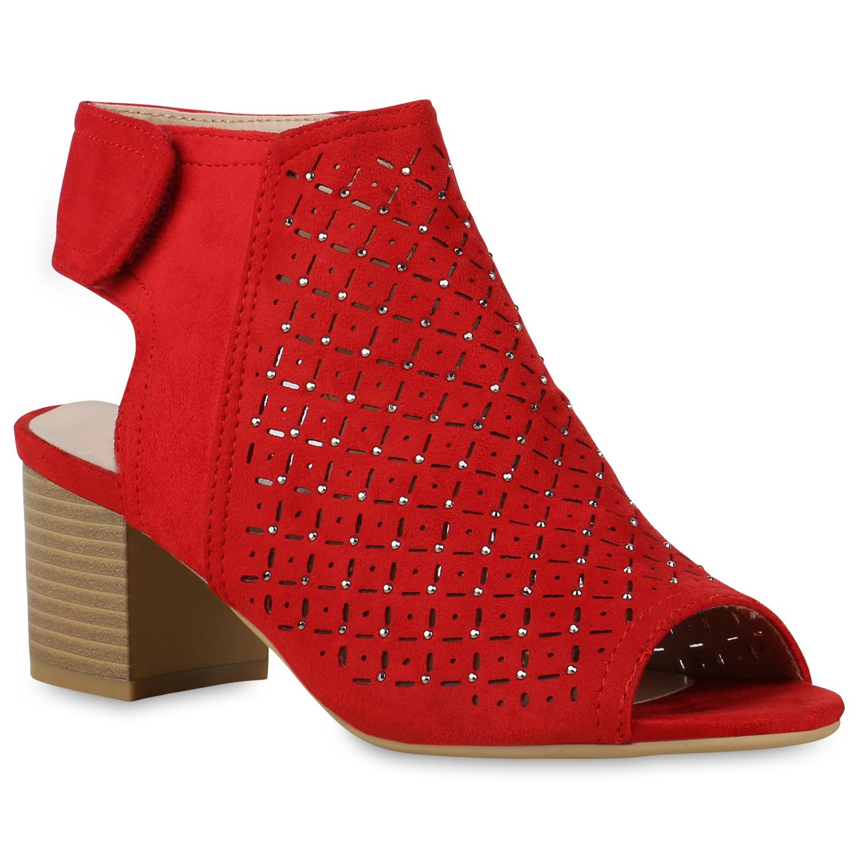 Damen Sandaletten Schaftsandaletten - Rot