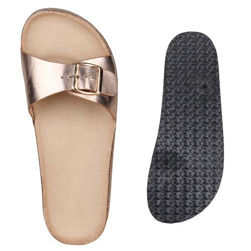 Damen Sandalen Pantoletten - Rose Gold