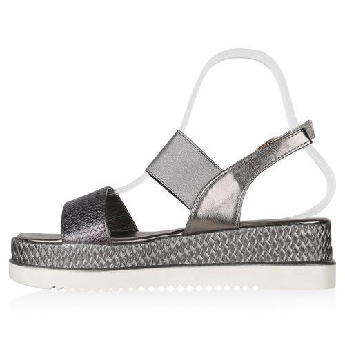 Damen Plateau Sandaletten - Grau Metallic