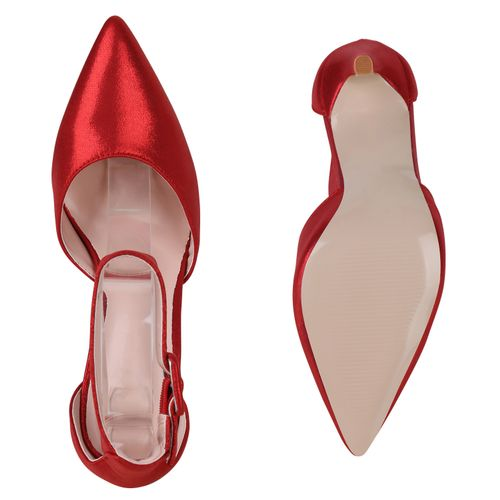 Damen Spitze Pumps - Metallic Rot