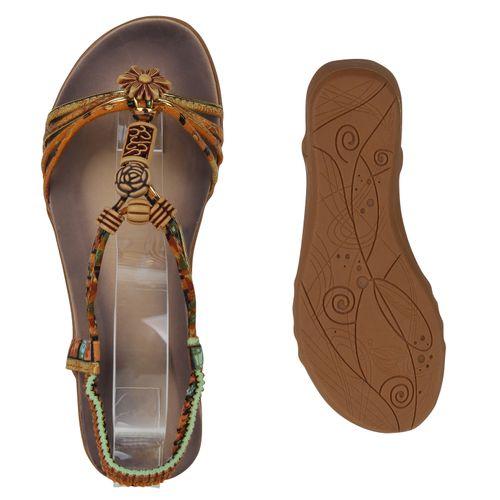 Damen Sandaletten Keilsandaletten - Hellbraun Orange Muster