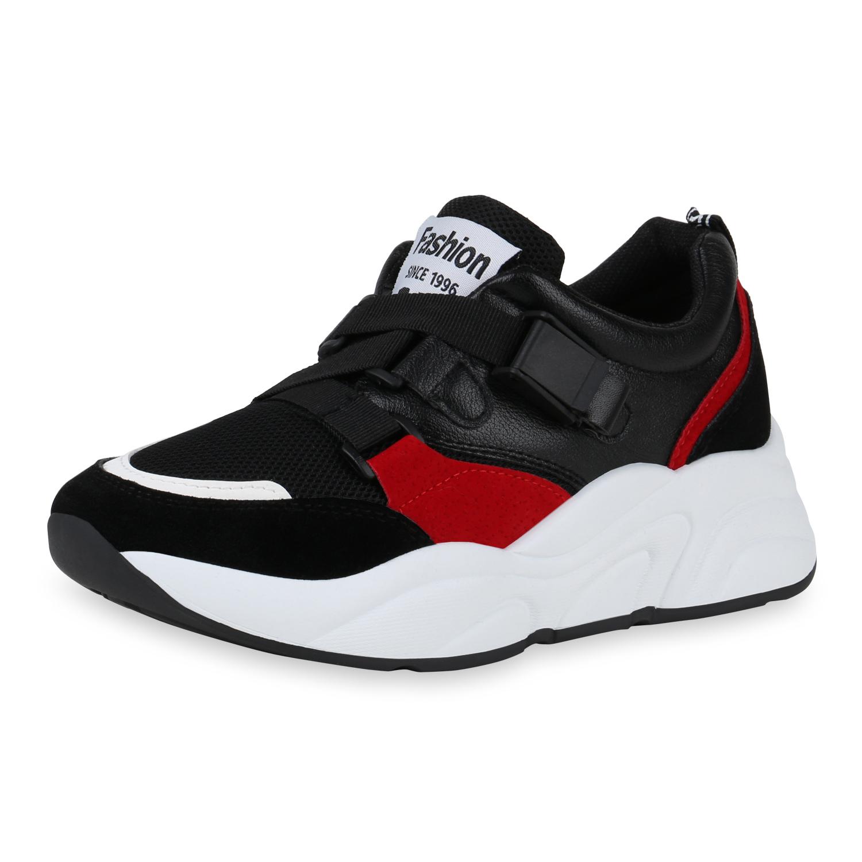 huge discount 8bdb8 9a073 Damen Plateau Sneaker - Schwarz Weiß Rot