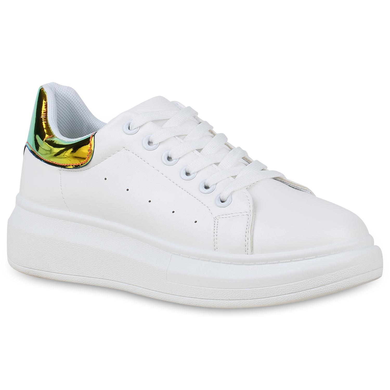 Damen Plateau Sneaker - Weiß Grün Metallic