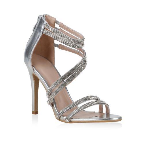 High Silber Sandaletten Heels Heels Damen Damen Damen Sandaletten High Sandaletten High Silber kOPXiZu