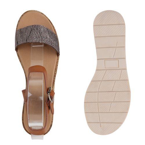 Damen Sandaletten Keilsandaletten - Hellbraun Bronze