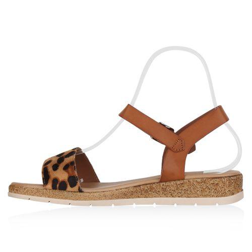 Damen Sandaletten Keilsandaletten - Hellbraun Leo