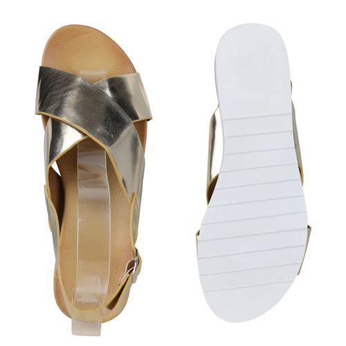 Billig Damen Schuhe Damen Sandaletten in Gold 831091155
