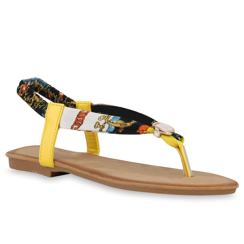 Damen Sandalen Zehentrenner - Gelb Schwarz Muster