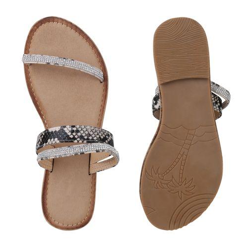 Damen Sandalen Pantoletten - Beige Snake