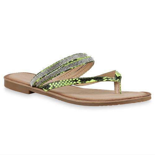 Damen Sandalen Zehentrenner - Neon Grün Snake