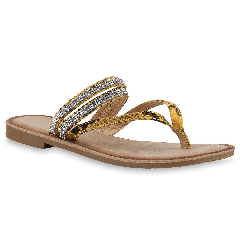 Damen Sandalen Zehentrenner - Gelb Snake