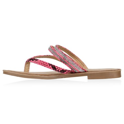 Damen Sandalen Zehentrenner - Pink Snake