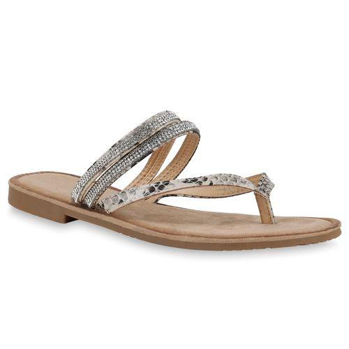 Damen Sandalen Zehentrenner - Beige Snake