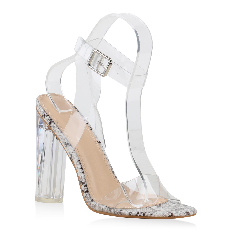 Highheels für Frauen - Damen Sandaletten High Heels Beige Dunkelbraun Snake  - Onlineshop Stiefelparadies